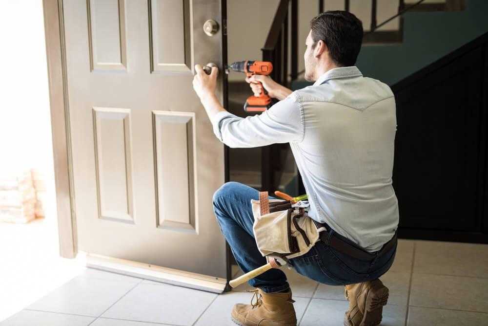 door lock being fixed