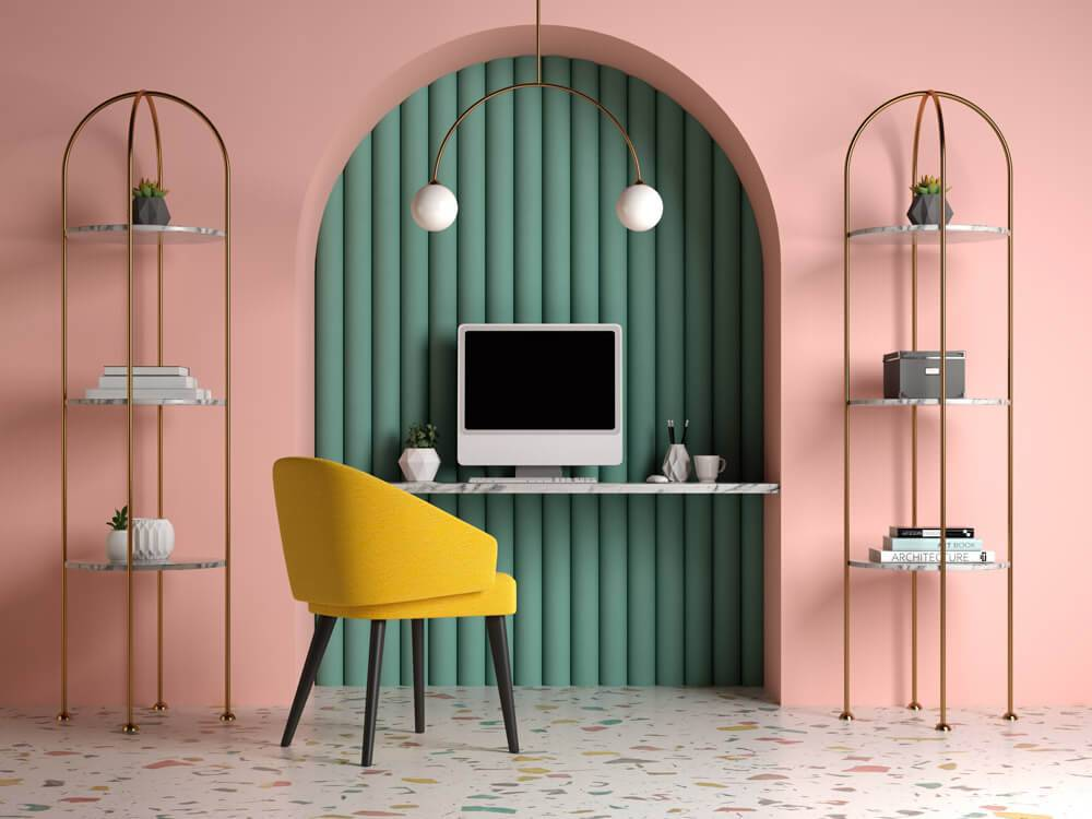 yellow chair with pink walls